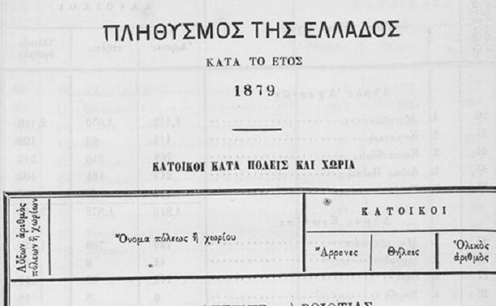 652 κατοίκους είχε η Κηφισιά το 1879, σύμφωνα με την κατωτέρω απογραφή, εκ των οποίων 353 άνδρες και 299 γυναίκες.